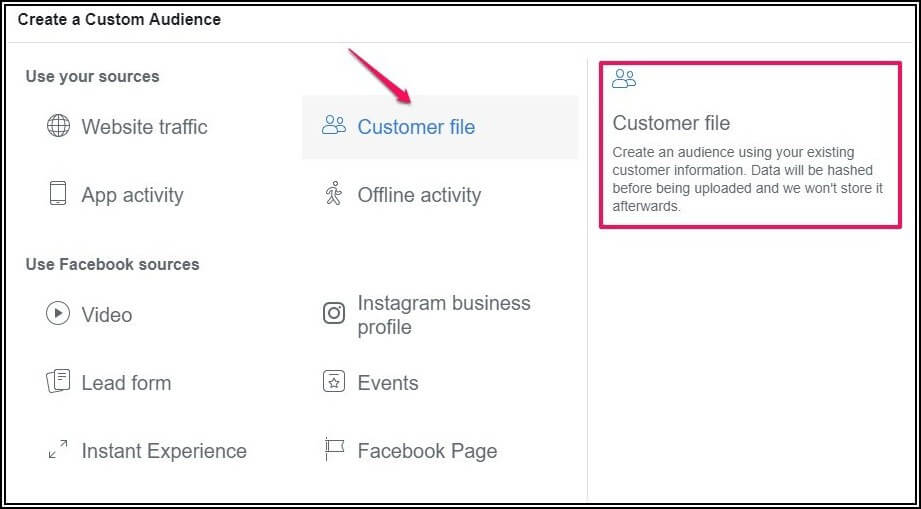 Facebook Ads Manager - Email Insertion